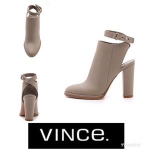 Vince Grey Leather cut out booties